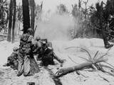 U.S. Soldiers Blasting Some Japanese Out of a Pillbox on Kwajalein Atoll with a 37mm Anti-Tank Gun Posters