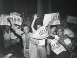 Filipinos Celebrate Headlines, 'Japan Surrenders' at the End of World War 2 Poster