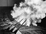 The USS Missouri Fires 16-Inch Shell into Enemy Lines at Hungnam Print