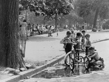Children with Tricycles Play Near a Puddle in Washington Square Park. New York City Aug. 3, 1948 Photo