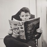 German Refugee Boy Reading a Superman Comic at the N.Y. Children's Colony School in 1942 Photo