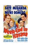 Week-End in Havana, from Left: John Payne, Alice Faye, Carmen Miranda, Cesar Romero, 1941 Giclee Print