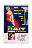Bait, Top from Left: Cleo Moore, John Agar, Bottom Right: Cleo Moore, 1954 Poster