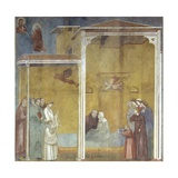 St. Francis Takes Confession of a Revived Woman on Her Deathbed Prints by  Giotto