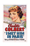 I Met Him in Paris, Claudette Colbert, 1937 Giclee Print