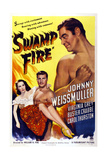 Swamp Fire, from Left: Carol Thurston, Buster Crabbe, Johnny Weissmuller, 1946 Art