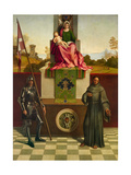 Madonna and Child, St. Francis and St. Nicasio. Castelfranco Altarpiece Poster by Giorgio Giorgione