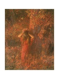 Red Nymph (Girl in a Wood Wears Flower Crown) Posters by Plinio Nomellini