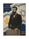 1947 Poster Showing Theodor Herzl with the Flags of Israel and the Zionist Congress Print