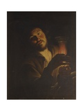 Man with Glass and Candle Posters by Gherardo delle Notti