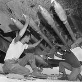 U.S. Marines Load Five-Inch Rockets under the Wing of a Corsair Fighter During Battle of Okinawa Prints