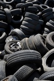 Used Car Tires on a Scrap Yard for Cars Photo by Frank May