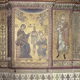 King William Ii Offering Monreale Cathedral to the Virgin, 1180. Mosaic, Monreale, Sicily, Italy Foto
