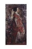 Lady in Red Print by Antonio Mancini