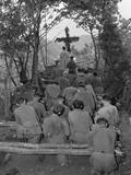 Chaplain Conducts Services North of Hwachon, Korea, for Men of 31st Regiment Photo