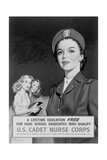 Recruitment Poster Showing U.S. Cadet Nurse, and Two High School Girls Admiring Her Prints