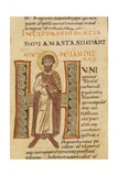 Illuminated Capital H with Figure of Saint Anastasio, 11 th C., Miniature. Florence, Italy Posters