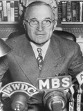 President Harry Truman Speaking into Microphones of Radio Networks, Ca. 1945-48 Photo