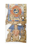 Manuscript Painting, 10th C, Lamb with Symbols of the Evangelists, Above Bishop and Deacons Poster