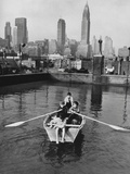 Four Young Members of the Madison Square Boy's Club Rowing a Boat in a Rooftop Pool Photo