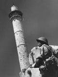 Jewish Soldier Stands Guard a Mosque in the Palestinian Town of Ramlah, Israel Prints
