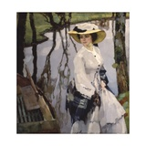 On the Shore (Young Woman Walking on a River Shore) Print by Leo Putz