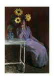 Portrait of Suzanne with Sunflowers Poster by Claude Monet