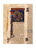 Illuminated Capital P with Saint Paul, 12th C Print
