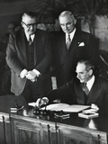 Dean Acheson, Sec. of State, Signs the North Atlantic Treaty Establishing the Nato Alliance Photo