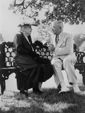 President Harry Truman and Edith Bolling Galt Wilson Seated on Outdoor Bench Photo