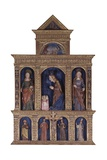 Wooden Altarpiece with Nativity and Saints, 15th C. Oratory of Our Lady of the Snows, Sernio, Italy Posters