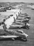 F-86 Sabre Jets on the Flight Line Getting Ready for Combat, June 1951 Photo