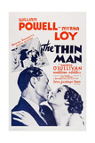The Thin Man, from Left: William Powell, Myrna Loy, 1934 Poster