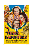 Four Daughters, Clockwise from Top: Gale Page, Rosemary Lane, Priscilla Lane, Lola Lane, 1938 Giclee Print