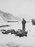A Wounded Chaplain Reads a Memorial Service over the Snow-Covered Bodies of Dead Marines Prints