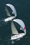 Two Yachts Compete in Team Sailing Event, California Posters