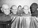 House of Horrors, Rondo Hatton Posing with Busts Used in Film, 1946 Photo