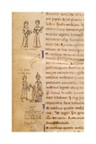 Two Women from Genoa and Pope Lucio Receiving Gold. 12th C, Bibliotheque Nationale, Paris Print
