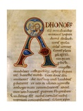 Illuminated Capital a with Heads of Saints. Passionario Manuscript, 12th C Poster