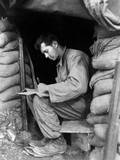 U.S. Soldier Writes a Letter During a Break Along the Fighting Front in Korea, Nov. 15, 1951 Prints