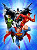 Justice League: Superman with Flash, Green Lantern, Batman with Blue Background Photo