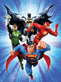 Justice League: Superman with Flash, Green Lantern, Batman with Blue Background Poster