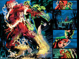 Green Lantern: Green Lantern and Flash Comic Book Panel (Color) Posters