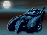 Batman: Batmobile in Black and Blue with Full Moon to the Left and Bats Flying around It Prints