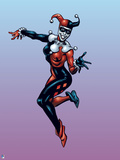 Batman: Harley Quinn Jumping While Smiling with One Leg Bent and Both Arms Extended Outwards Prints