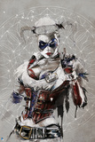 Batman: Sketch of Harley Quinn in Tattered Clothes with Warden Badge and Corset Posters