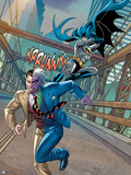 Batman: Batman Swinging on Rope Behind Two Face About to Kick Him as Two Face Tries to Run Away Print