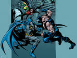 Batman: Batman Fighting Bane with Robin Jumping in from the Side with Rod in Hand Posters