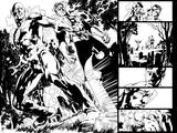 Green Lantern: Green Lantern and Flash Comic Book Panel (Black and White) Prints