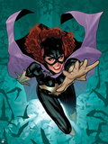 Batman: Cover Art of Batgirl Jumping Forward with Hand Reaching Out with Bats Circling around Her Prints